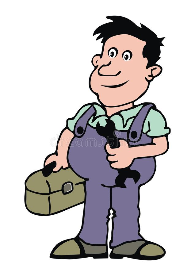 Plumber, color. Plumber, man with bag and wrench. Business icon stock illustration