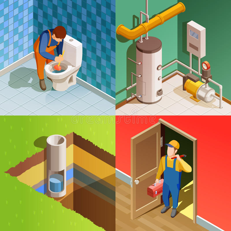 Plumber 4 Colorful Isometric icons Square royalty free illustration