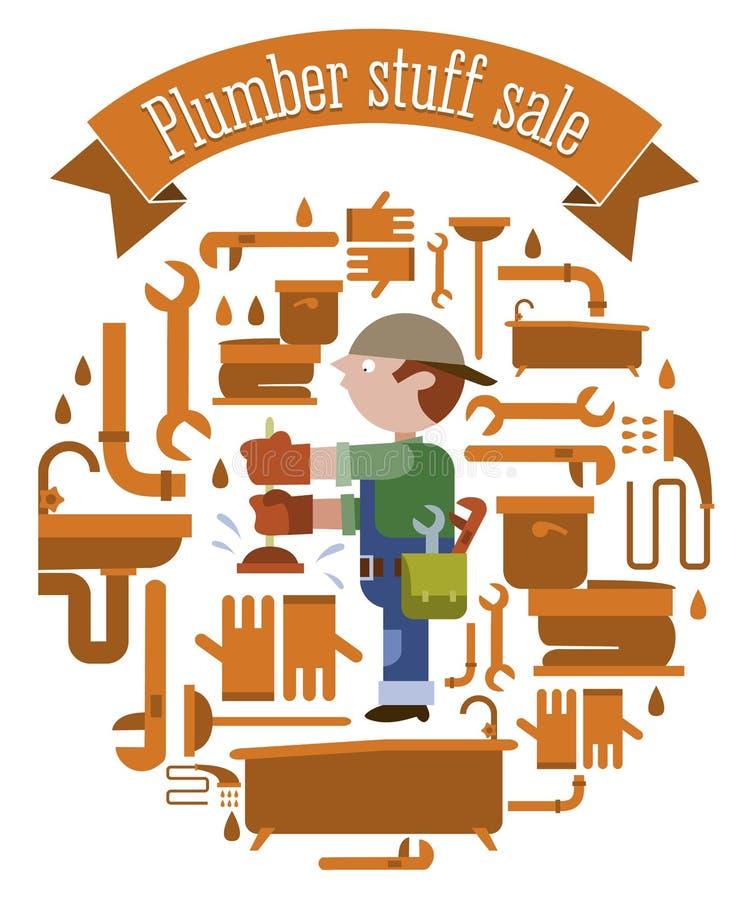 Plumber equipment sale stock illustration