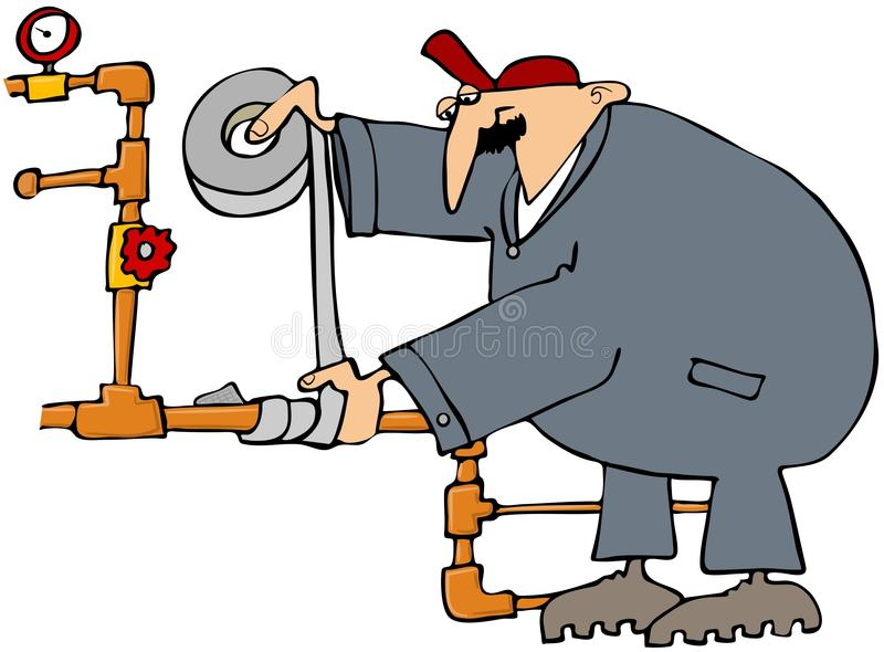 Plumber Fixing A Pipe With Duct Tape. This illustration depicts a plumber wrapping a copper pipe with duct tape vector illustration