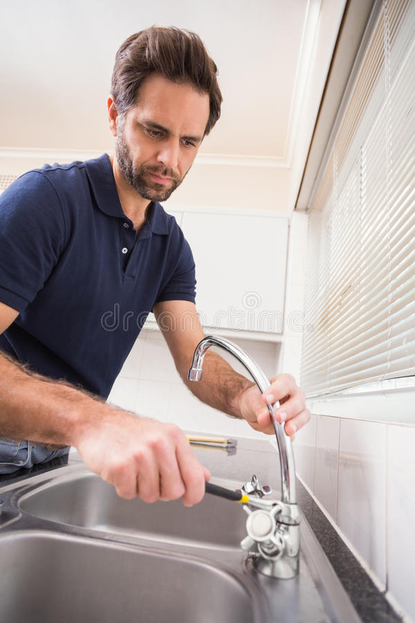 Plumber Fixing The Sink With Wrench Stock Photo - Image of tool ...