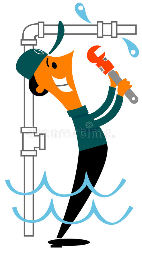Plumber fixing a water leak stock illustration for Leaky pipe carries more water