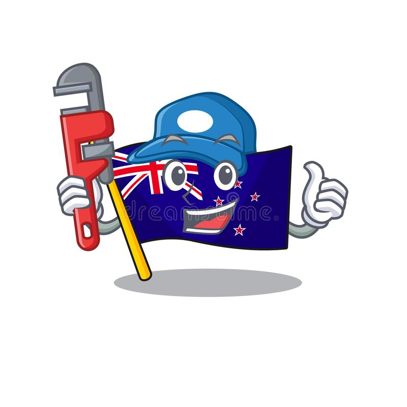 Plumber flag new zealand in cartoon drawer. Vector illustration royalty free illustration