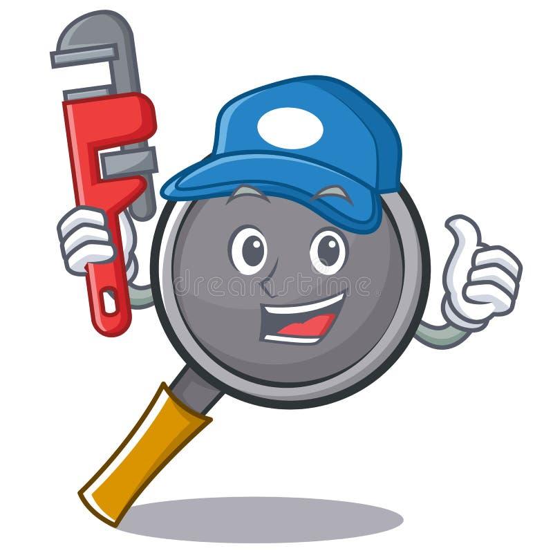 Plumber frying pan cartoon character. Vector illustration vector illustration