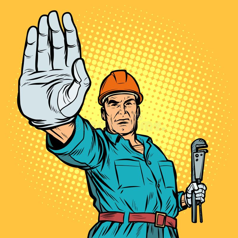 Plumber gesture stop stock illustration