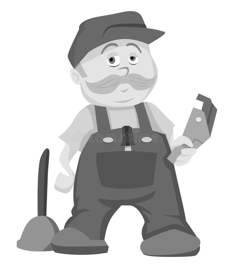 Plumber grayscale royalty free illustration