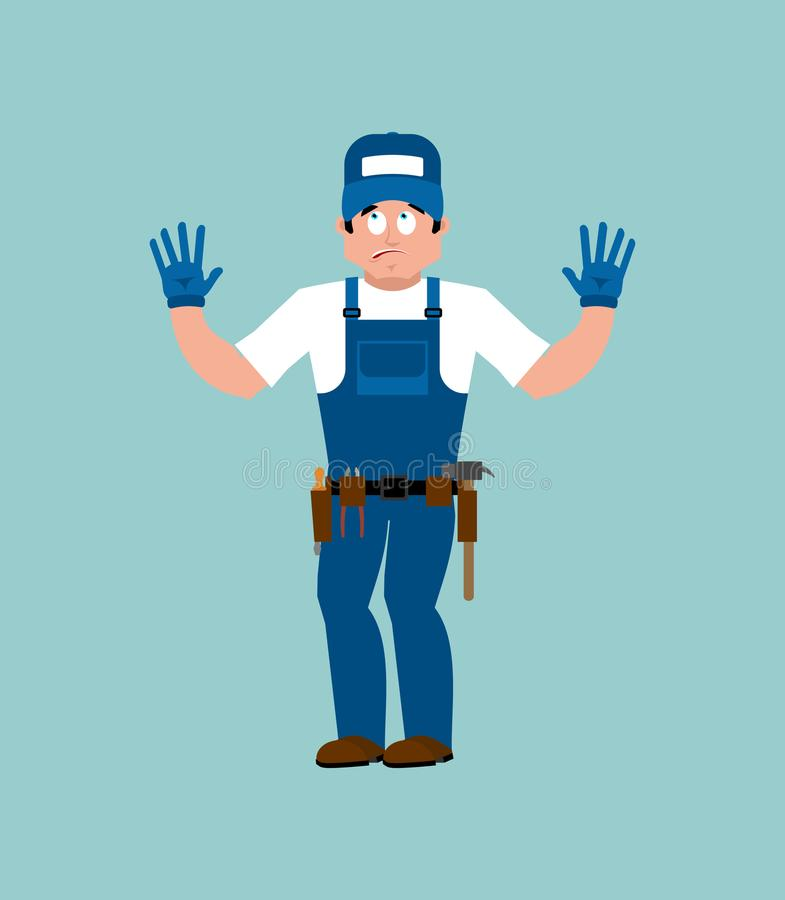 Plumber guilty oops. Fitter culpable. Service worker Serviceman vector illustration