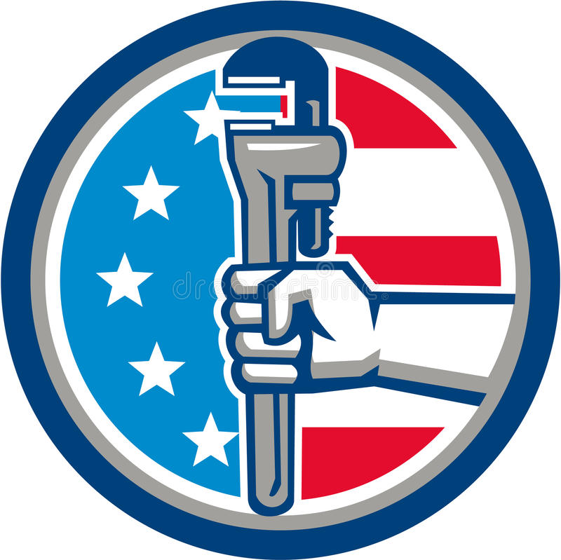 Free Plumber Hand Pipe Wrench USA Flag Upright Circle Retro Stock Photos - 83689273