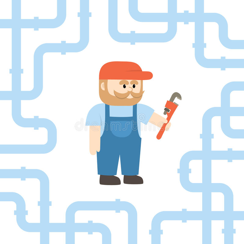 Man Holding Pipe Wrench Stock Illustrations – 241 Man