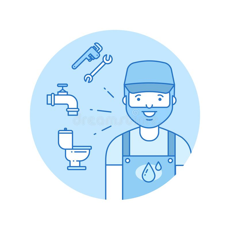 Plumber icon in lineart style vector illustration