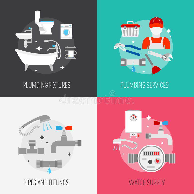 Plumber icon composition set vector illustration