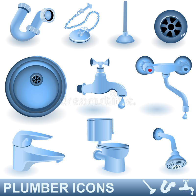 Plumber icons stock illustration