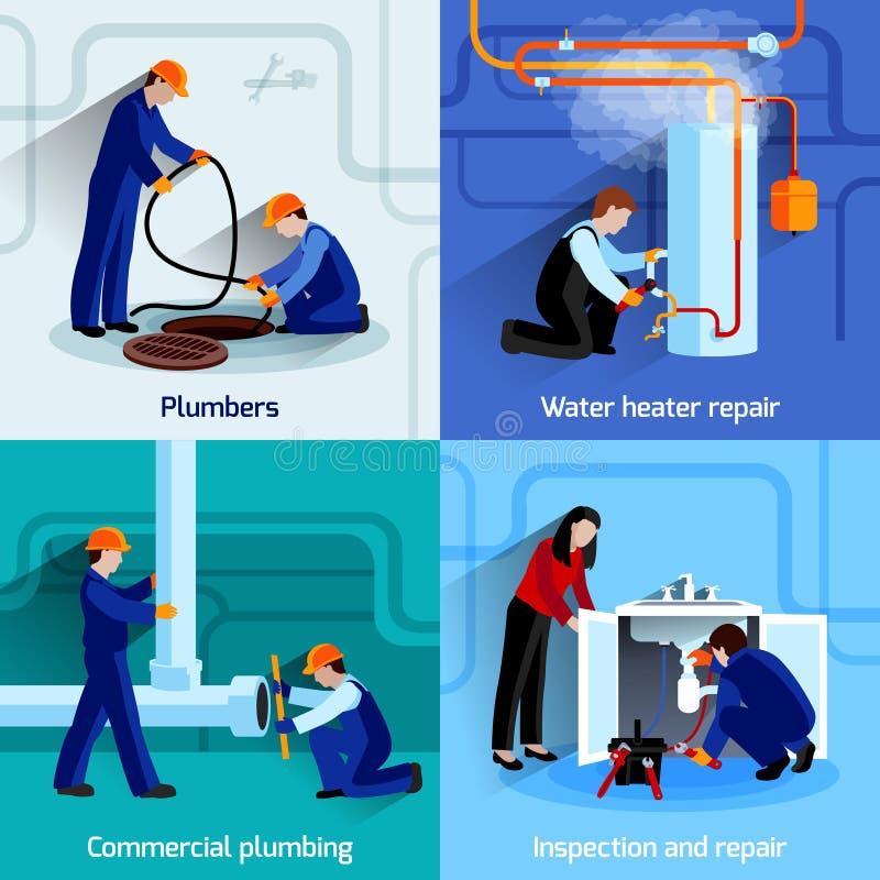 Plumber icons set stock illustration