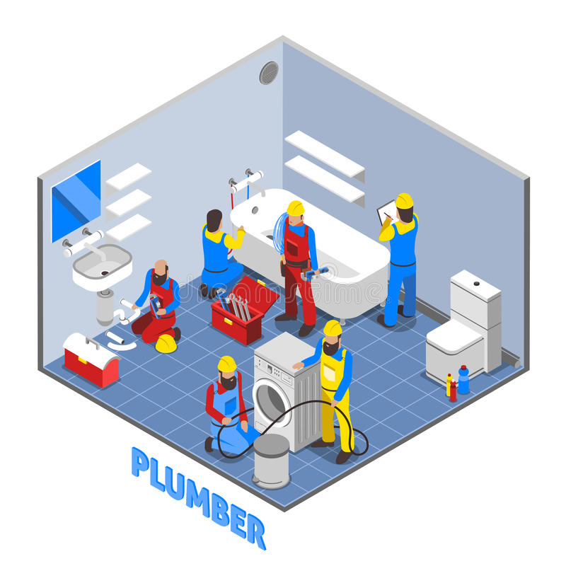 Plumber Isometric Composition vector illustration