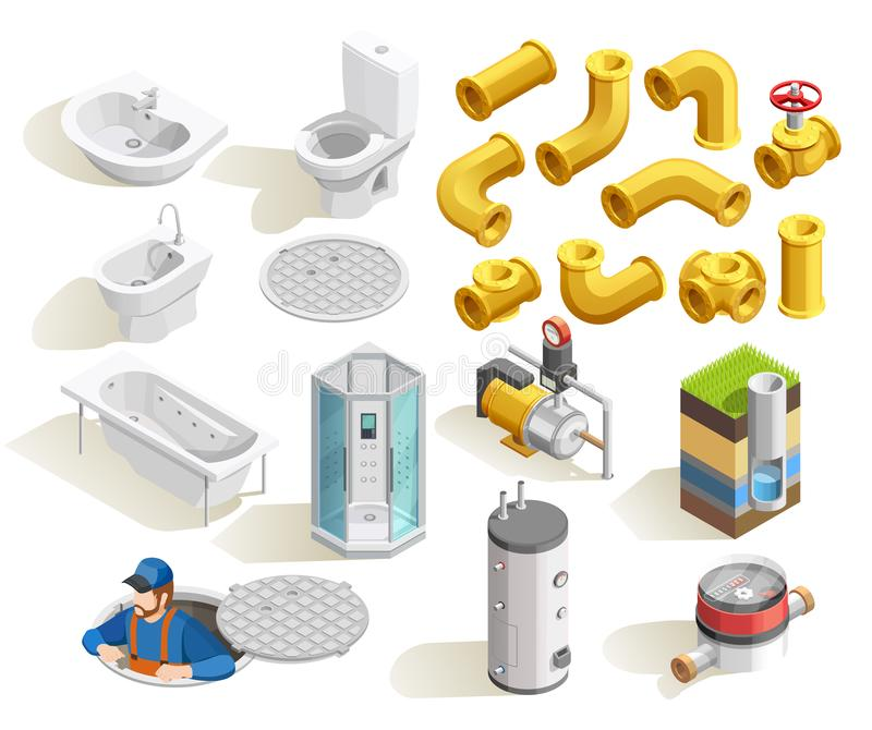 Plumber Isometric Icons Set stock illustration