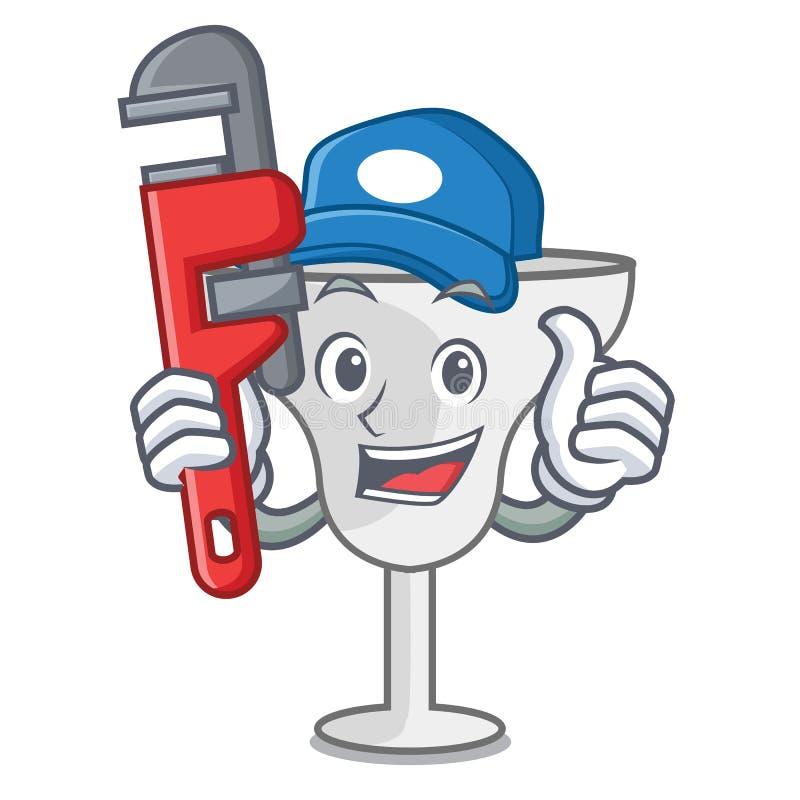 Plumber margarita glass mascot cartoon. Vector illustration vector illustration