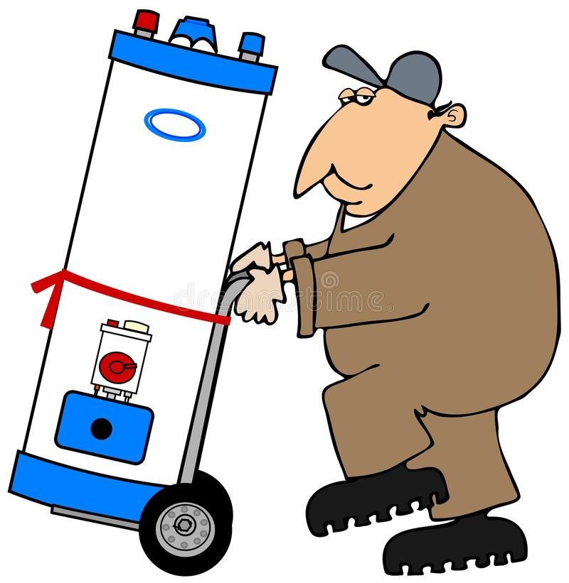 Plumber moving a water heater stock illustration