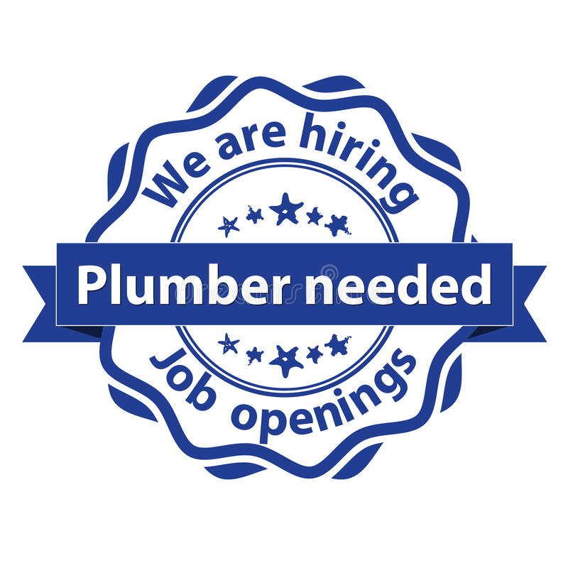 Plumber needed. We are hiring stamp vector illustration