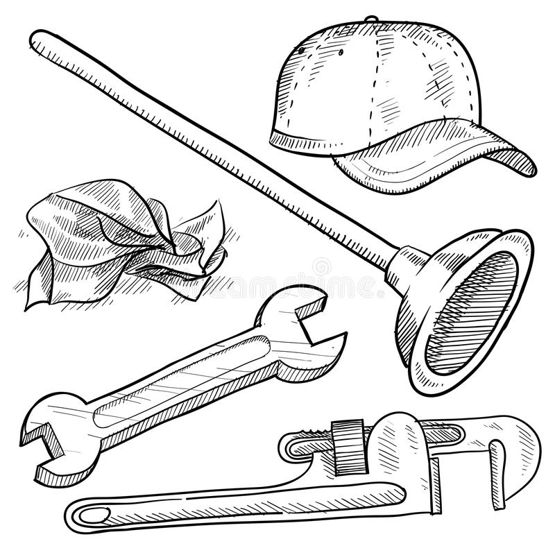 Download Plumber objects sketch stock vector. Illustration of pipes - 22354489
