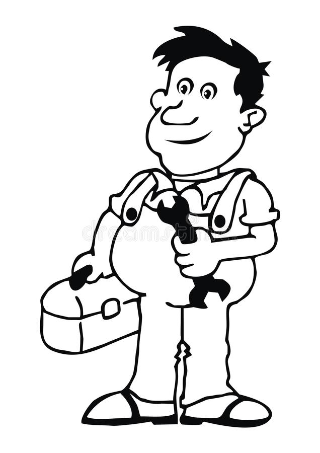 Plumber. In overalls holding a wrench stock illustration