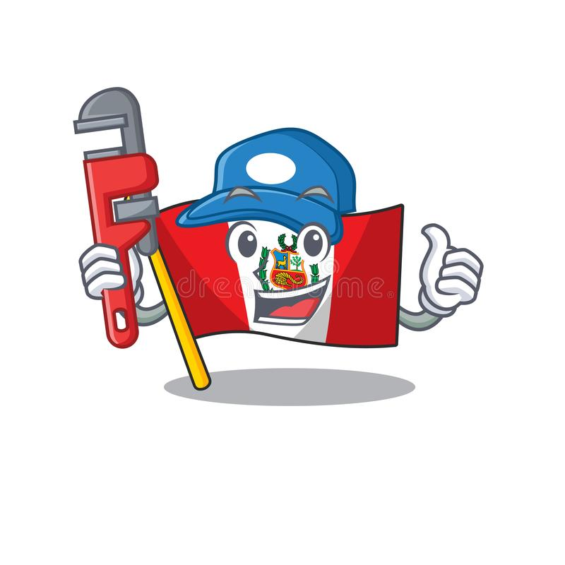 Plumber peru flag stored in character drawer. Vector illustration vector illustration