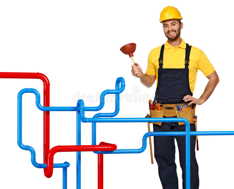 Plumber and pipe background royalty free stock photography