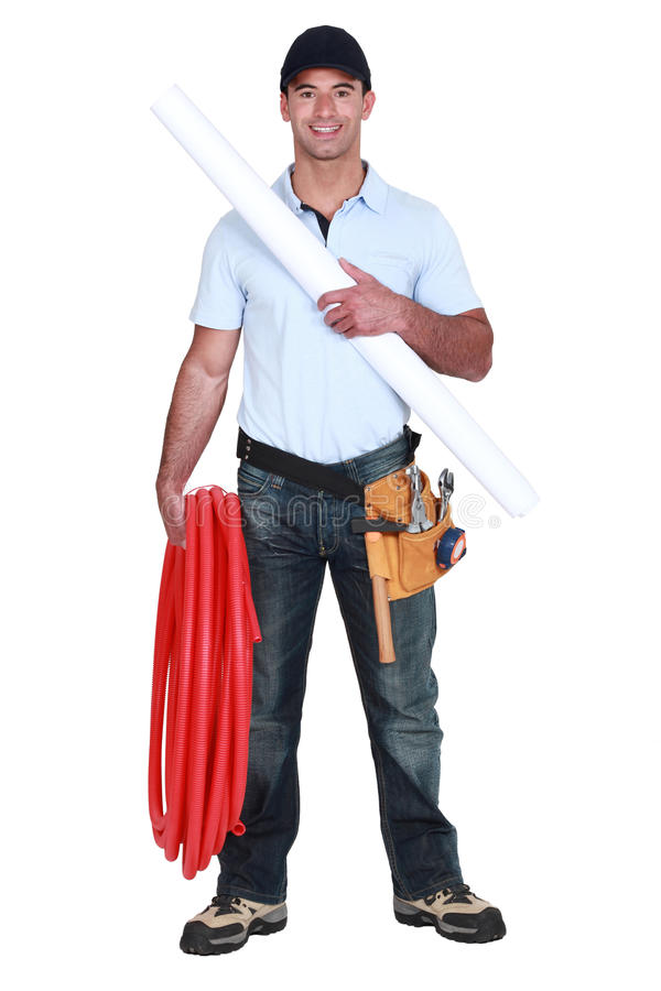 Download Plumber with piping stock image. Image of handyman, electrician - 27580873