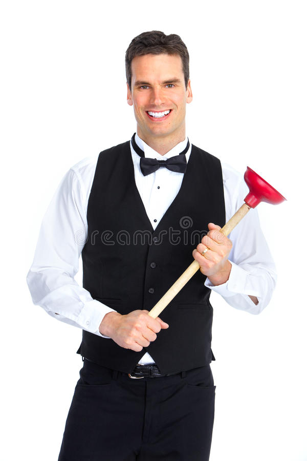 Plumber with a plunger. Young handsome plumber with a plunger. Isolated over white background royalty free stock image