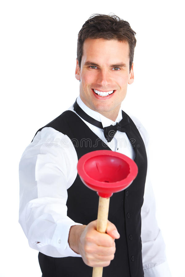Download Plumber with a plunger stock photo. Image of janitor - 18548458