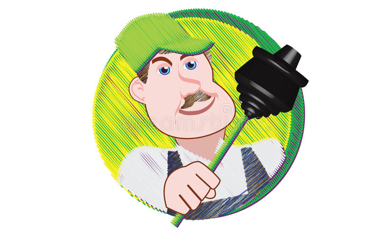 Plumber with Plunger royalty free stock photo