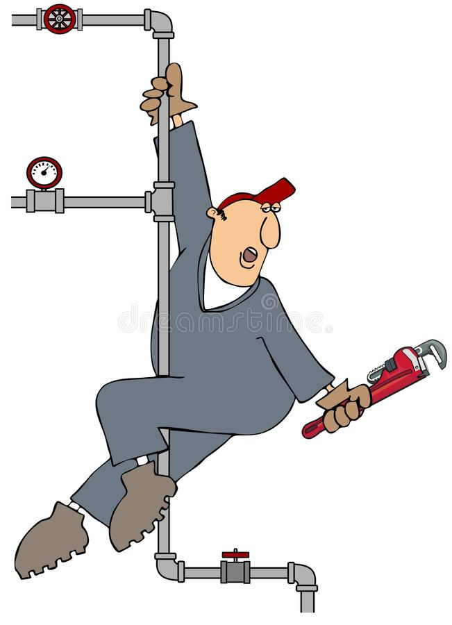 Plumber Pole Dance stock illustration