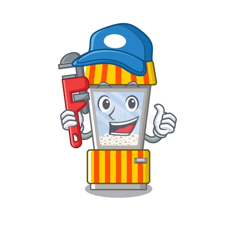 Plumber popcorn vending machine in mascot shape. Vector illustration stock illustration