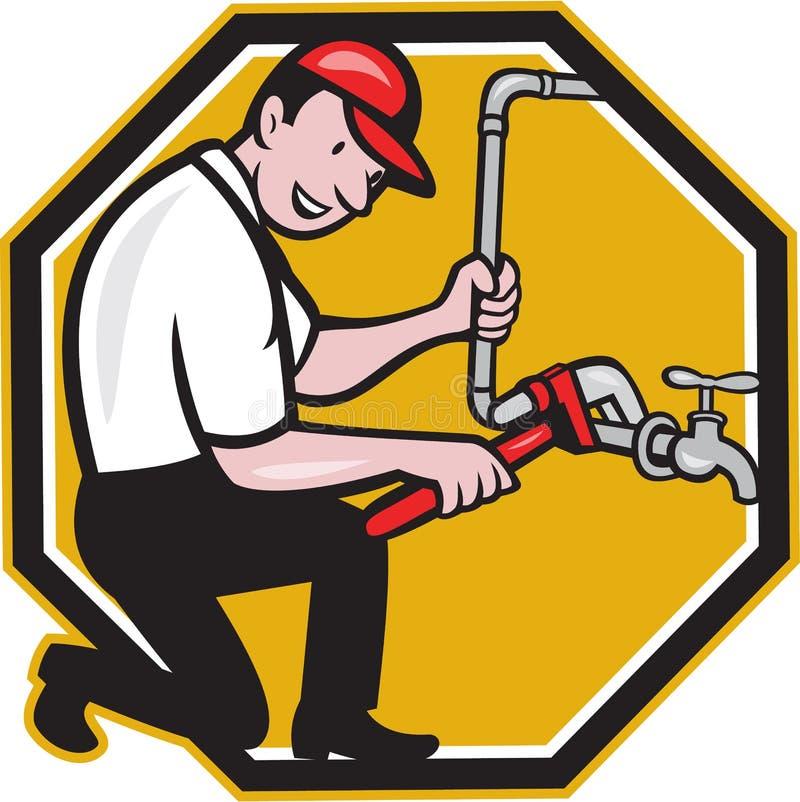 Plumber Repair Faucet Tap Cartoon Stock Vector - Illustration of ...