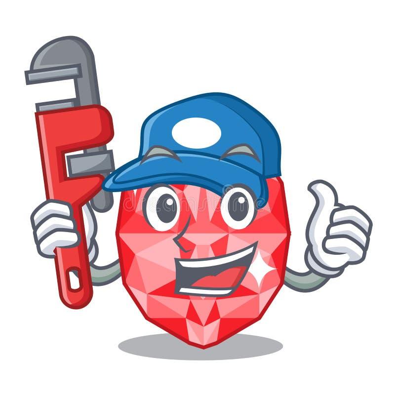 Plumber ruby gems in the mascot shape. Vector illustration royalty free illustration