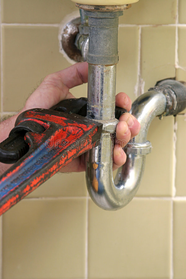 Plumber's Pipe Wrench stock photos