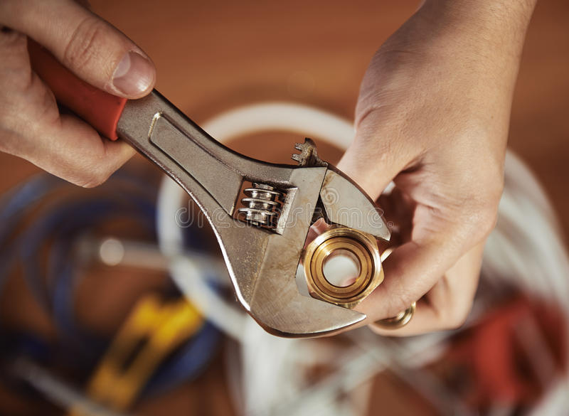 Plumber with stock image