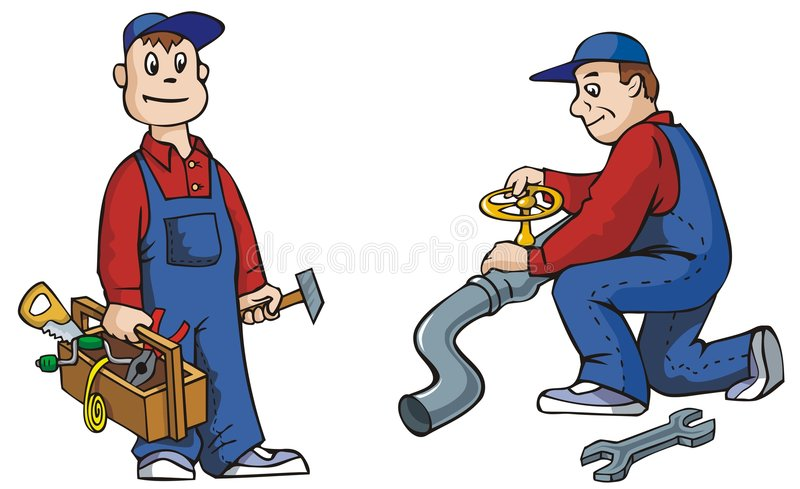 Plumber with tools. Two pictures of plumber with tools, working, vector illustration royalty free illustration