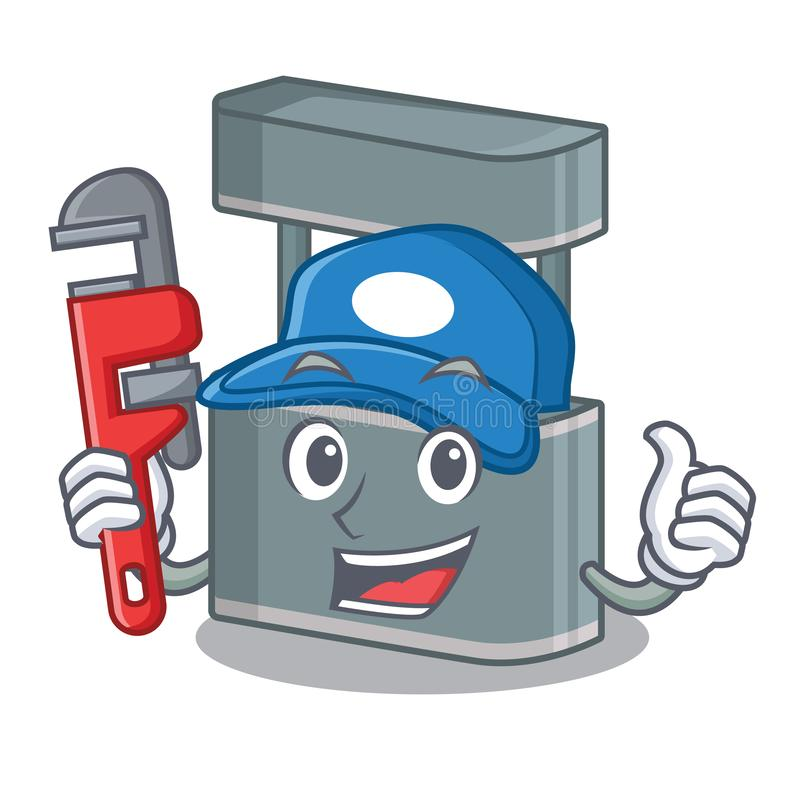 Plumber toy trade stand on a mascot. Vector illustration stock illustration