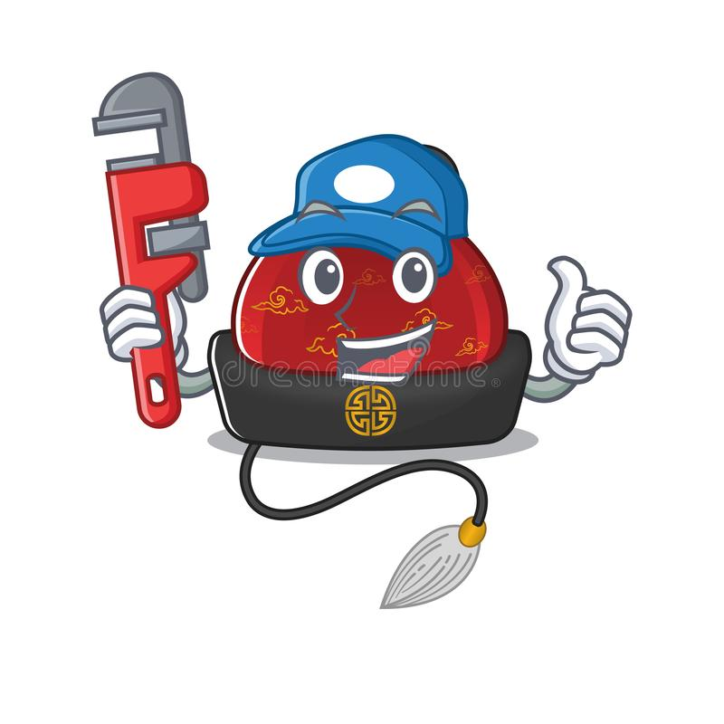 Free Plumber Traditional Chinese Hat On Cartoon Character Mascot Design Stock Photo - 166266950