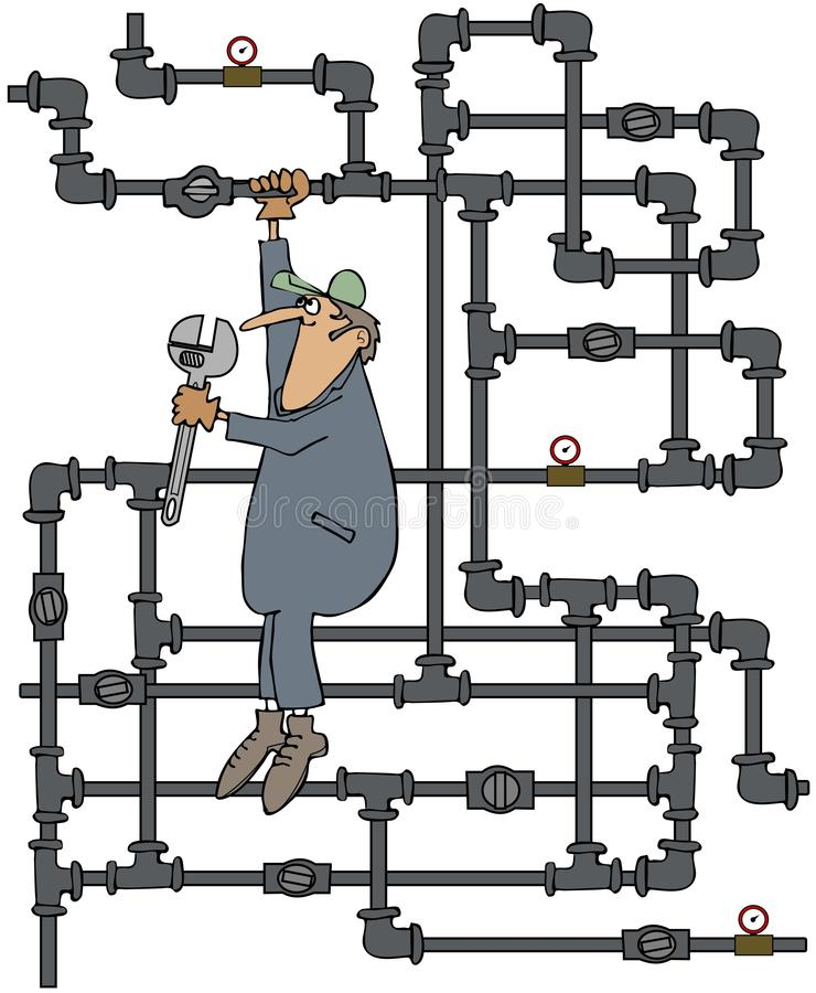 Plumber turning a valve vector illustration