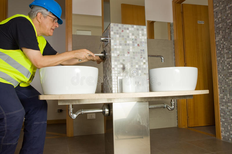 Download Plumber at work stock image. Image of male, interior - 27649719