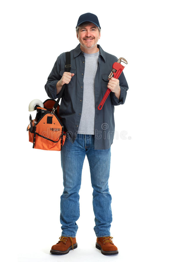 Plumber with a wrench. Mature plumber man with a wrench isolated over white background stock photography