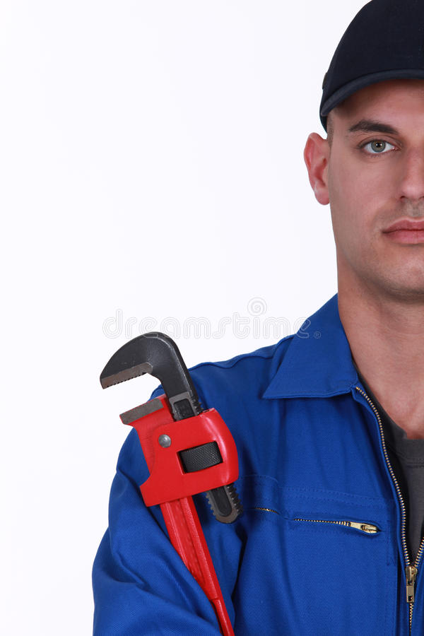 Plumber With Wrench Stock Photos
