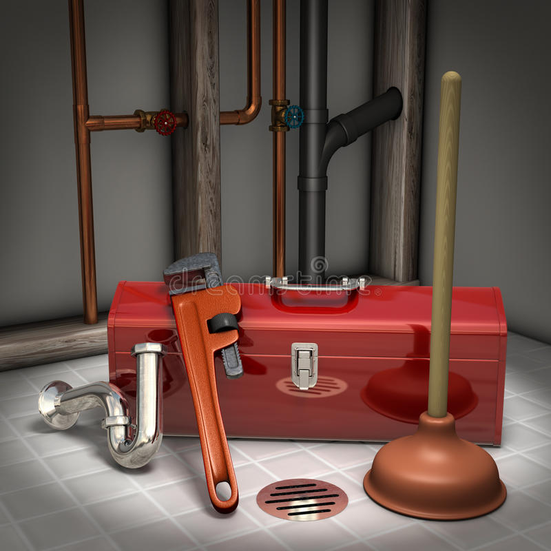 Plumbing. Plumbers toolbox, plunger, pipe wrench and sink trap on a tiled floor with exposed pipes in the background