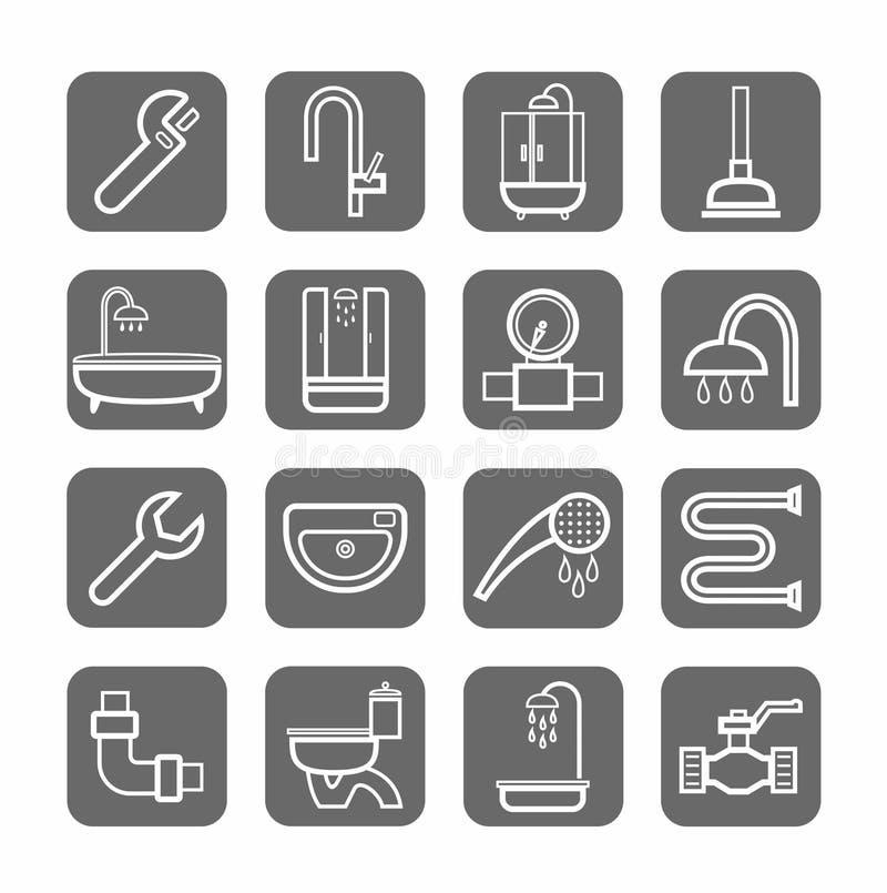 Plumbing, badges, linear, grey background. vector illustration