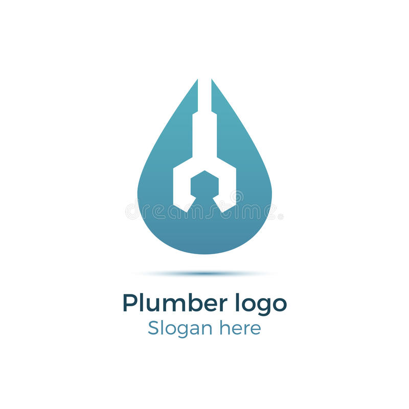 Plumbing company logo. Vector concept. Illustration for plumber`s business. Simple and stylish logotype - water drop with wrench. Negative space design stock illustration