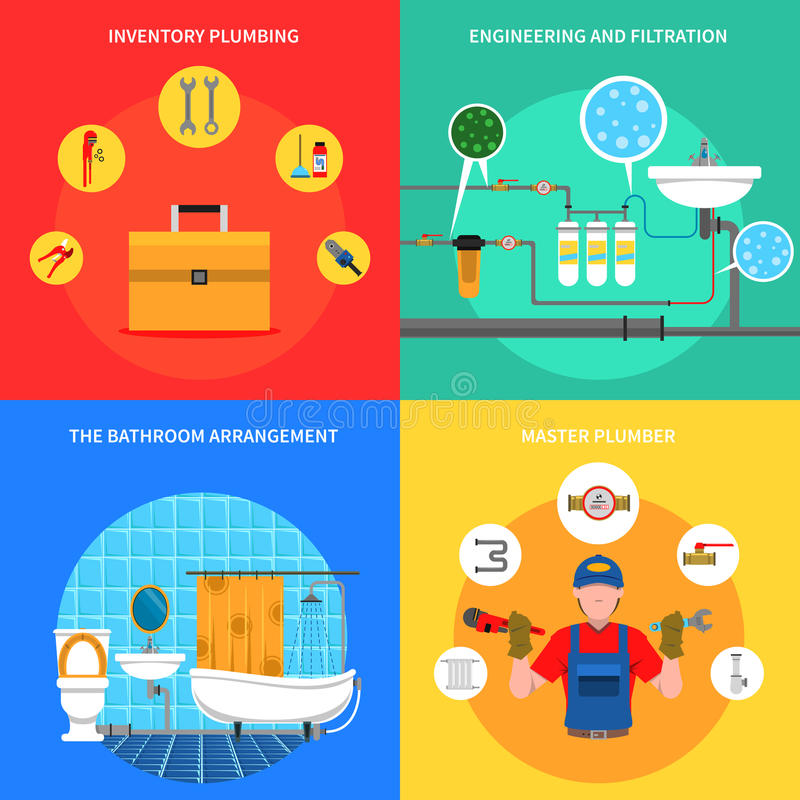 Plumbing Concept Set. Plumbing design concept set with master plumber flat icons vector illustration royalty free illustration