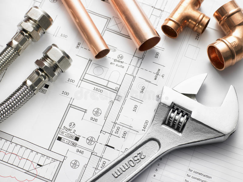 Download Plumbing Equipment On House Plans Stock Image - Image of plan, overhead: 10003275