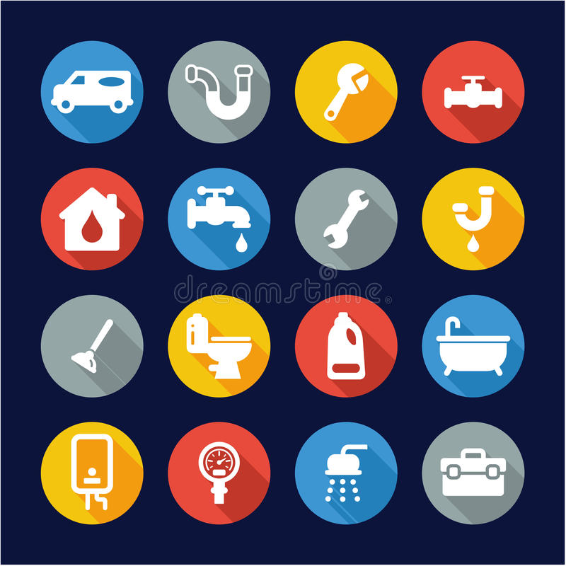 Plumbing Icons Flat Design Circle. This image is a illustration and can be scaled to any size without loss of resolution stock illustration