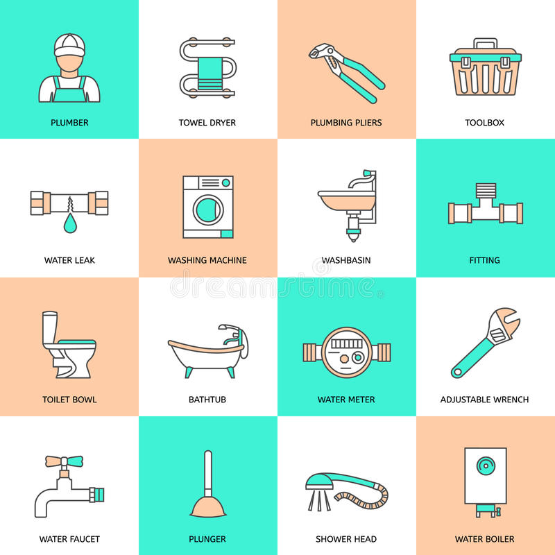 Plumbing Icons Flat Line Set. Plumbing service water fixtures icons flat line set isolated vector illustration royalty free illustration